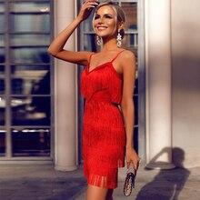 Ocstrade tassel vermelho bandage vestido 2020 novo designer runway feminino elegante bandagem vestido bodycon vestidos de festa noite clube vestido