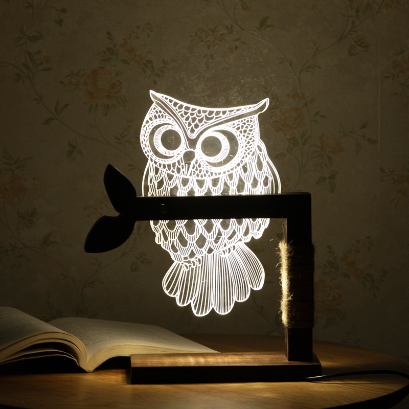 Creative 3D Owl Desk Lamp Bedroom LED Night Light Wood+Acrylic Panel Warm White Dimmable Lighting USB Cable + US EU Plug SX010 adjustable owl shaped 3d wooden stand lamp night light bedroom table desk lamp warm white lighting plug connector home decor