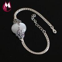 High Quality Natural White Cat Eye Stone Bracelets Bangles 100% Sterling Silver 925 Bracelets For Women Opal Flower Jewelry SB15
