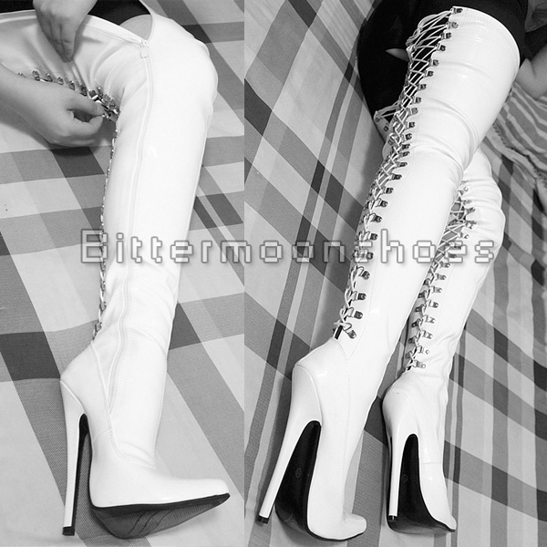 18CM Sexy Women Boots Over-the-Knee Long Pointed Toe Thin High-heeled Shoes Woman Dance Plus Size 36-45
