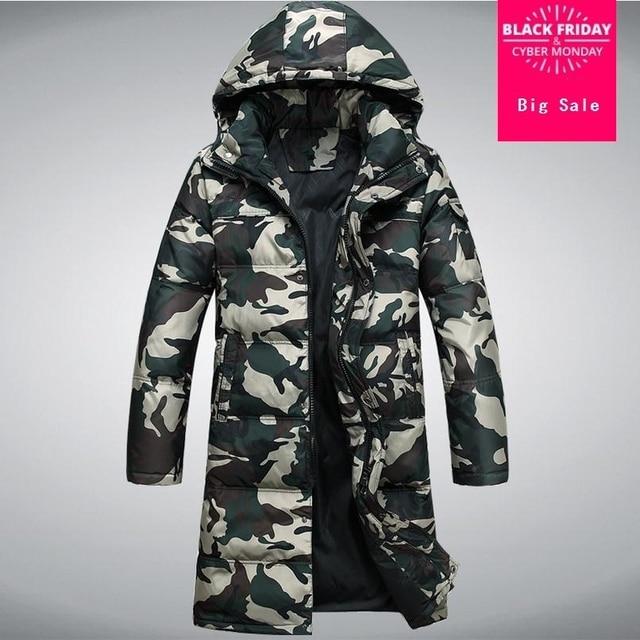 46c3fac8c59 2017 Зимняя Новая мужская мода 90% утка вниз куртка мужская камуфляж  Расширенный толще с капюшоном