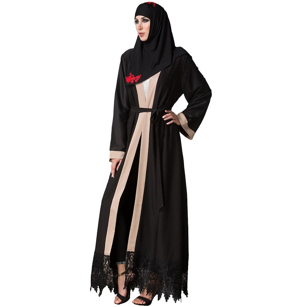 efbf00d2cfc3c US $24.69 35% OFF Wanita Plus Ukuran Muslim Cardigan Disambung Merenda  Renda Hem Lengan Panjang Islam Abaya Maxi Gaun Tahan Dr Hitam di Dresses  dari ...