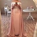 Элегантный Розовый Атласная Элегантный Прямо С Плеча Лодка Шеи Вечернее Платье Цветы Кафтан вечерние платья 2017