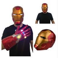 Anime New Marvel Superhero Iron Man Cosplay Masks Tony Stark LED Helmet PVC Mask The Avengers Thanos Gloves Halloween Party Toy