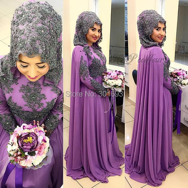 Oumeiya Owd806 Heavy Beaded Black Purple Two Color High Neck Long