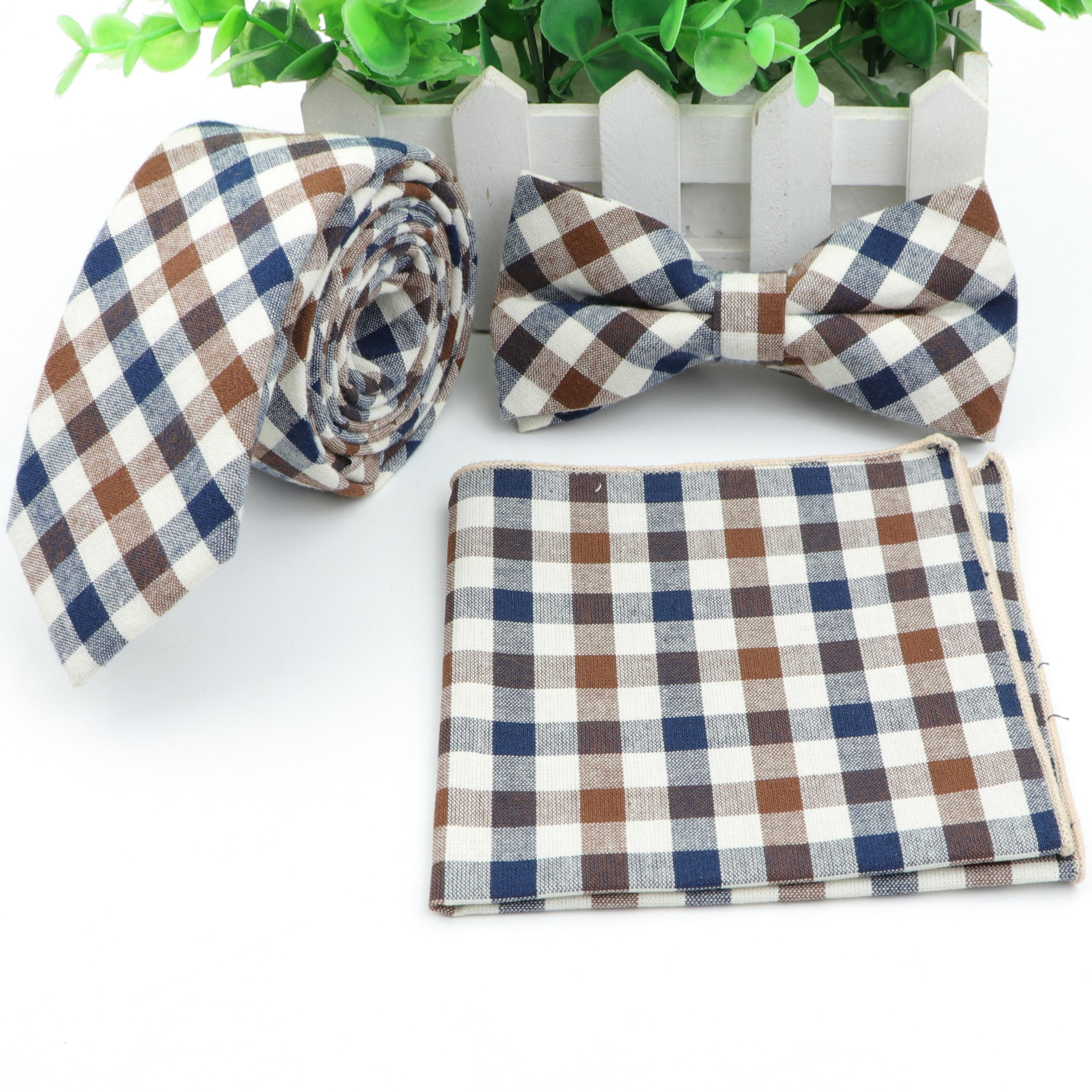 Cotton Tie Set Mens Designer Skinny Plaid Necktie Bowtie Pocket Square Suit Ties Butterfly Handkerchief Lots