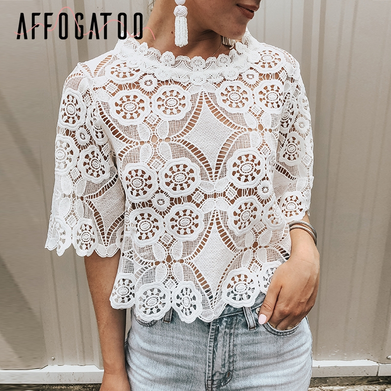 Affogatoo Sexy lace elegant ruffle summer   blouse     shirt   women Embroidery hollow out short sleeve   blouse   Casual ladies   blouse   tops
