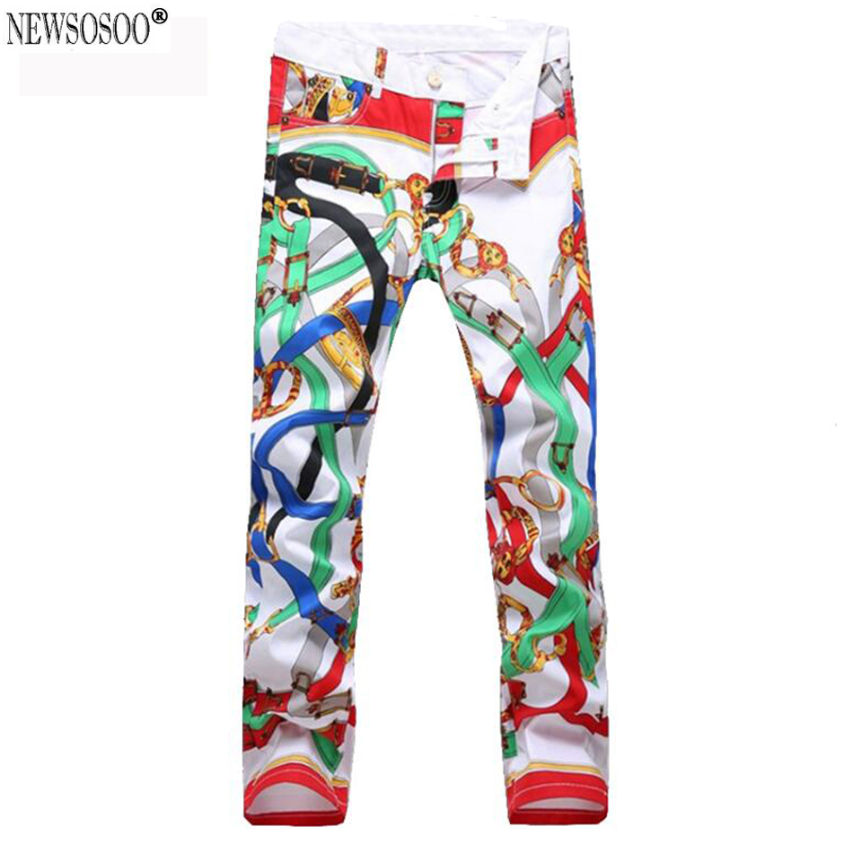 ФОТО Newsosoo Men's belt printed night club jeans slim fit colorful casual pencil jean pants young mens jeans hommes MJ86
