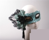 Light blue half face beauty god peacock lace mask party adult mask party decoration mask