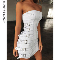 BOOFEENAA Metal Buckle Womans White Dress Sexy Club Wear Summer Bandage Bodycon Dresses High Street Fashion Clothes C55 BA64