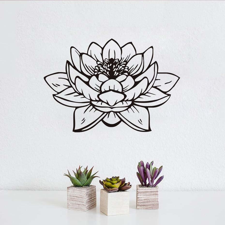 Modern mor renkli banyo dekorasyonu ev dekorasyonu dizayn - Y Ksek Kalite G Zel Lotus Duvar Sticker Ev Dekor Diy Sanat Mural Mor Tasar M Pvc Oymak Banyo