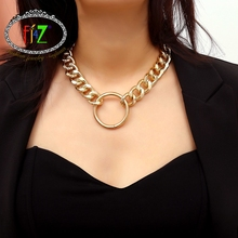 F.J4Z new arrival fashion punk style necklace trendy maxi link chain circle pendant rock hip hop night club show jewely