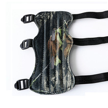 Camouflage Archery Bow Arm Guard Protection Forearm Safe 3-Strap Camo Leather Shooting Target Hunting Archery Shooting Practice