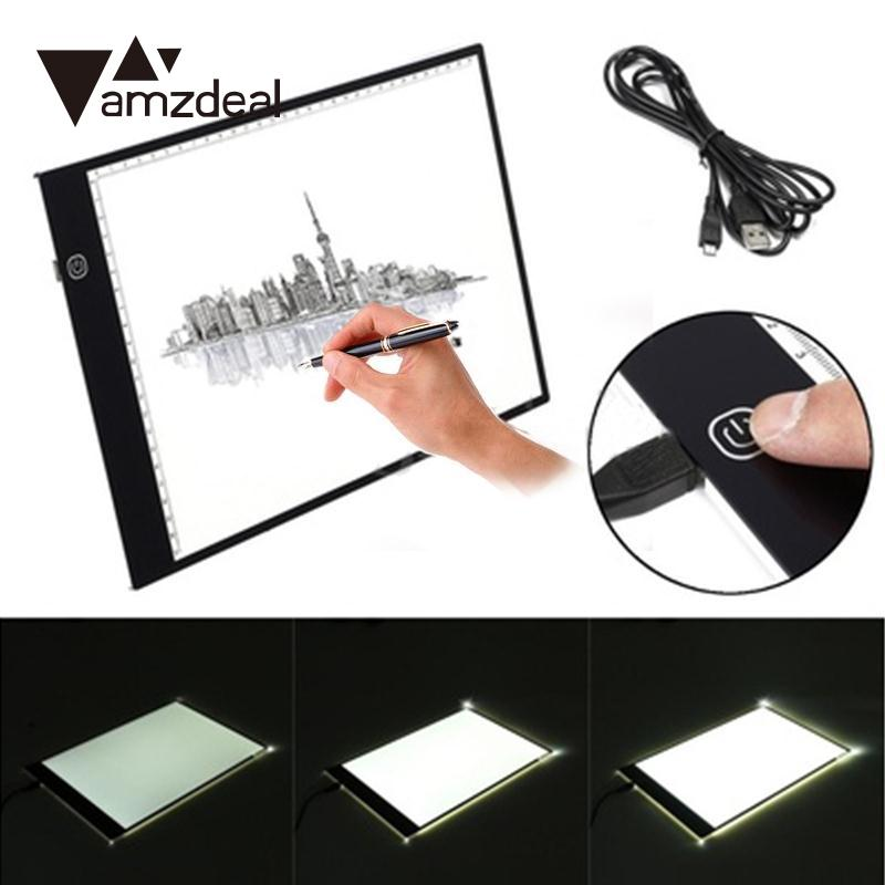 Cewaal A4 Third gear dimming LED Painting Tablet Thin Art Stencil Drawing Display Board Light Box Table 3 Gear Dimming Drawing T t art блузка