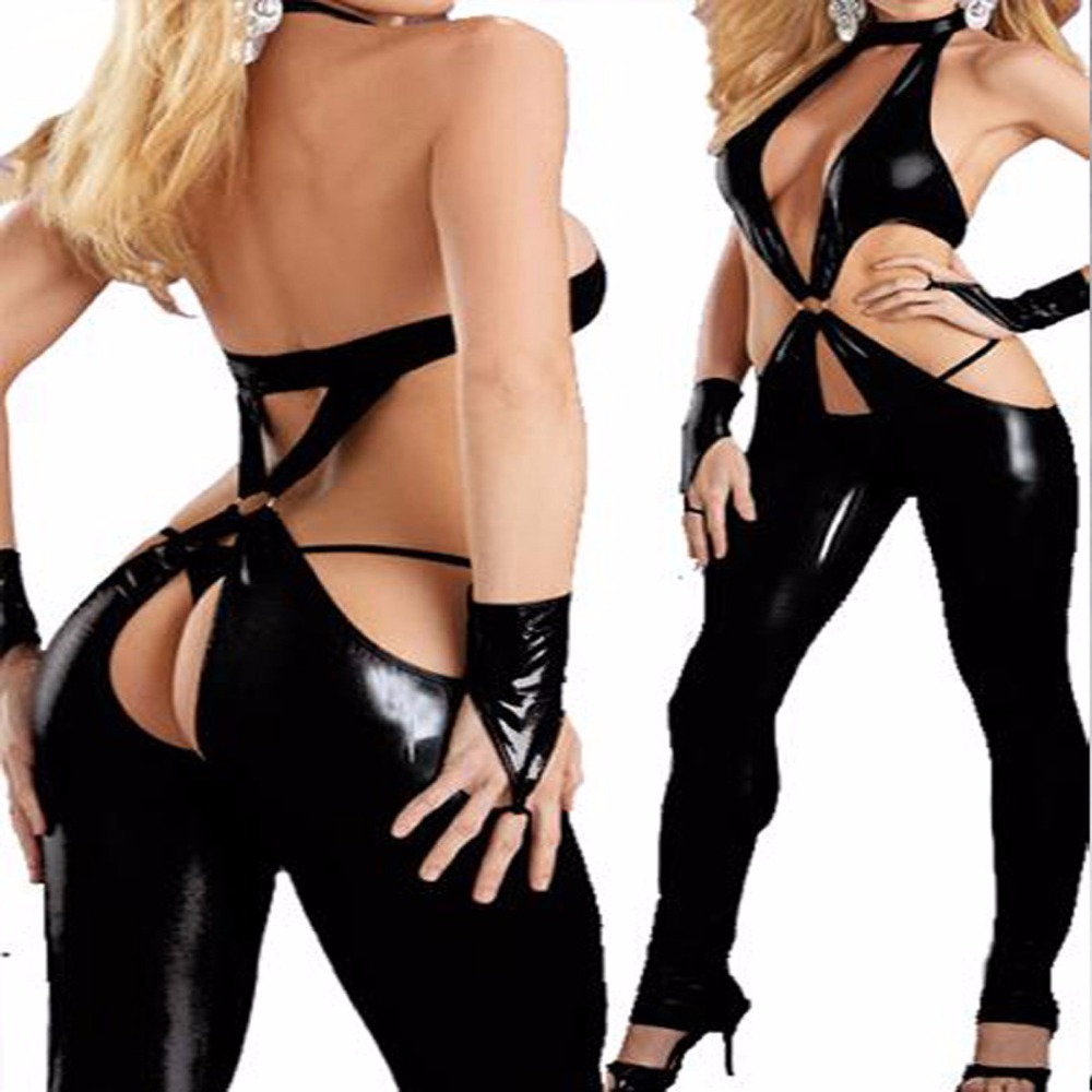 Sexy  patent leather DS Black Tights Jumpsuit cross straps Costume role-playing bodysuit women costume for women cosplay costume
