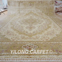 Yilong 14.3'x20.3' Tabriz silk rug large antique beige Turkish handmade oriental silk carpet (0878)