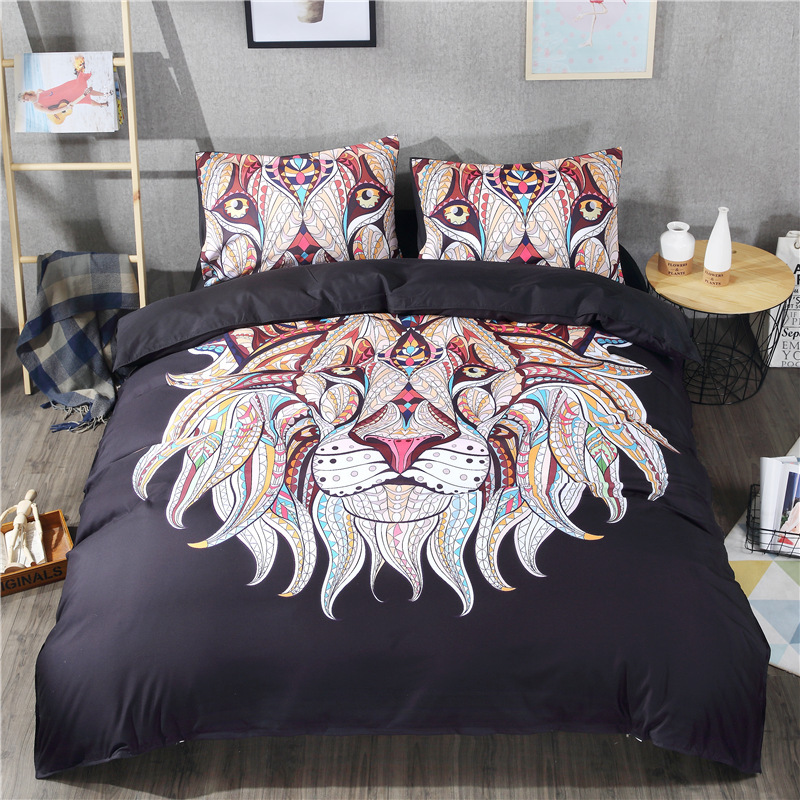3D Lion Head Bedding Set Twin Queen King Bohemian Duvet Cover Set with Pillowcase Microfiber Fabric 3pcs Bedclothes Bed Linen3D Lion Head Bedding Set Twin Queen King Bohemian Duvet Cover Set with Pillowcase Microfiber Fabric 3pcs Bedclothes Bed Linen