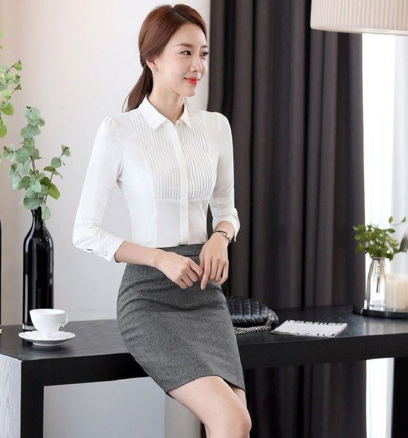 Formal Spring Fall Office Ladies Work Suits With 2 Pieces Tops And Skirt Business Women Outfits Skirt Suits