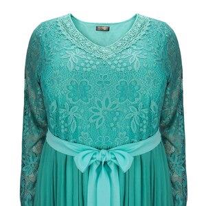 Image 4 - Plus Size Dresses for Women 4xl 5xl 6xl Spring Autumn Boho Vintage Lace Pleated Chiffon Party Dress Female Large Size Dress H162