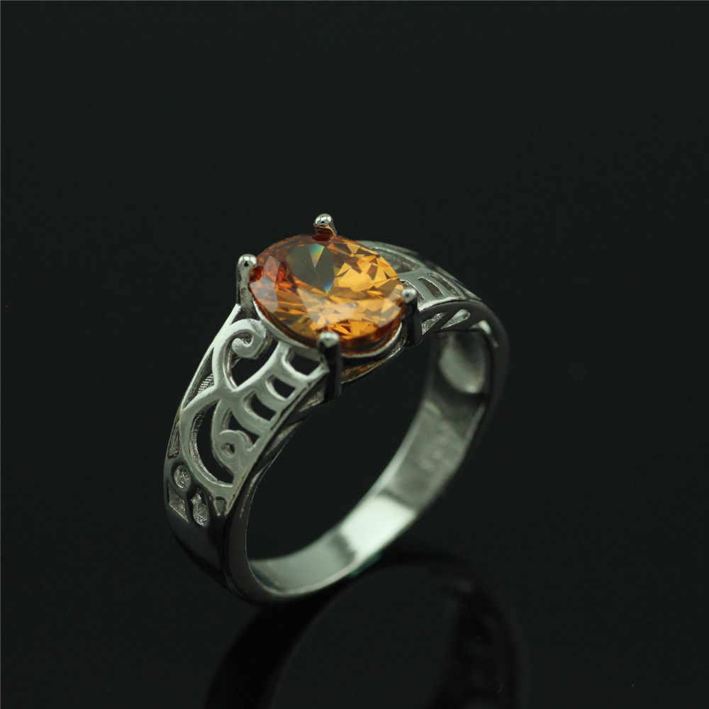 925 стерлингов серебряные кольца женщины новый набор большие камни восстановление древних способов кольцо шампанского Кристалл женщина кольцо подарок ювелирных изделий