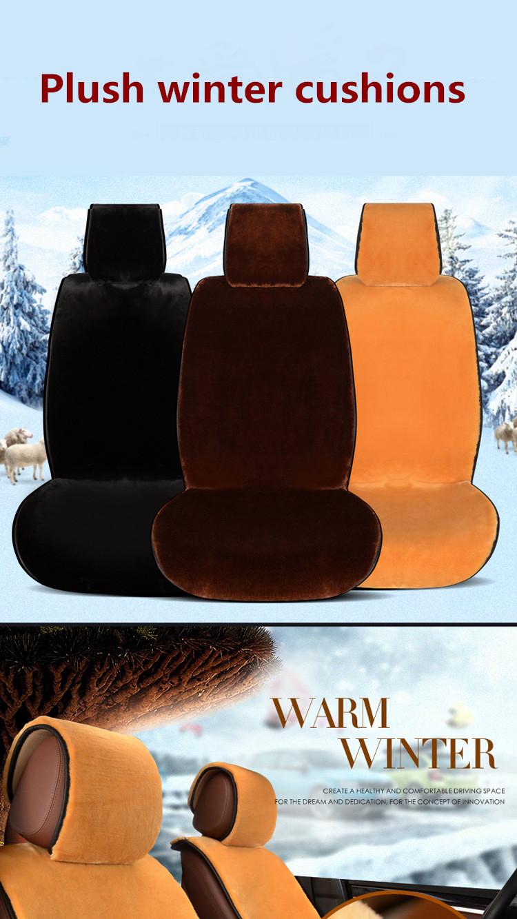 Winter Wool Plush Fur Car Seat Protector Mats Covers Set