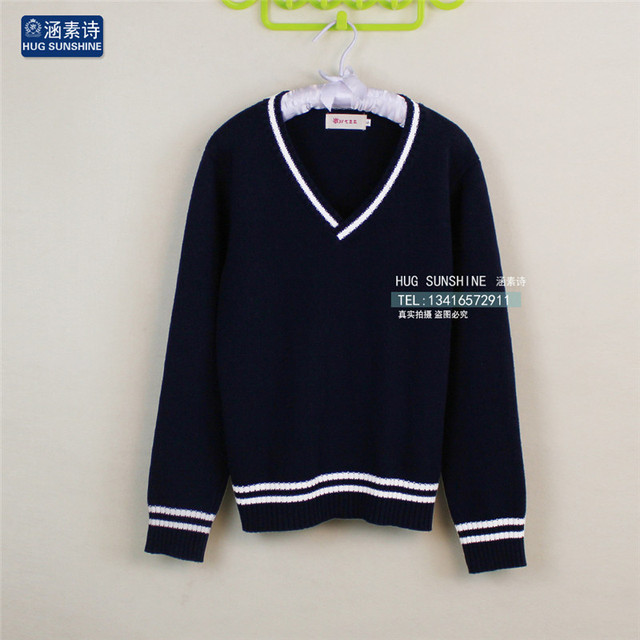 JK Cosplay Sweater Japan School Uniform V,neck Knitted Sweaters Cotton  Long,sleeve Preppy