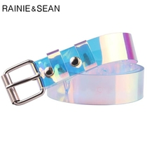 RAINIE SEAN Plastic Transparent Belt Women Pin Buckle Ladies Colourful PVC 2019 New Female Fashion Ceinture 110cm 120cm