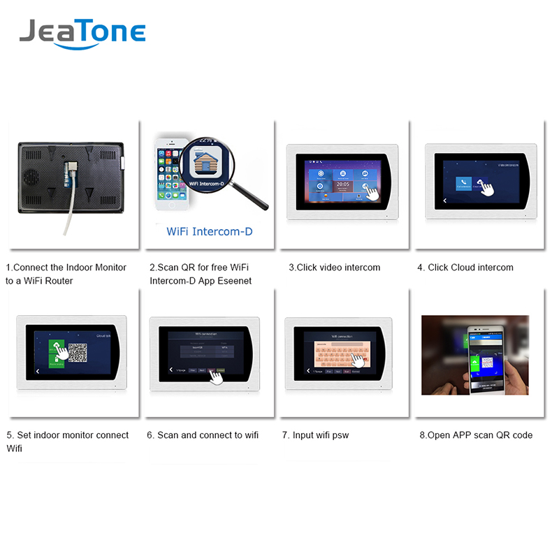 Купить с кэшбэком JeaTone 7 inch WIFI IP Video Door Phone Intercom Wired Single monitor Access Control System Touch Screen Motion Detection