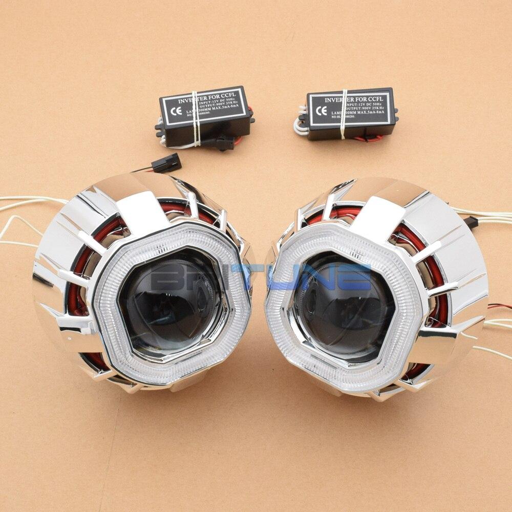 2.5 ''carré double CCFL Angel Eyes H1 HID bi-xénon projecteur lentille feux de jour pour H4 H7 voitures Auto phare modification - 3
