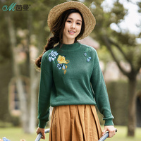 INMAN 2017 Women S Autumn Winter New Embroidered Round Neck Sweater Loose