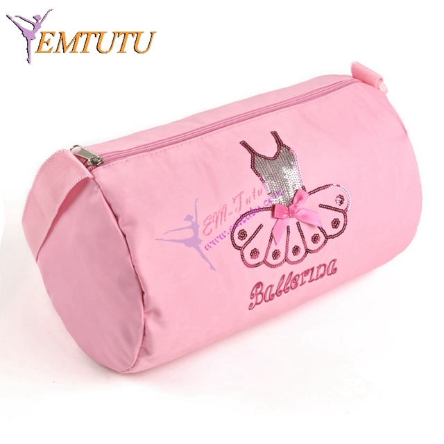 S Cute Ballet Dance Bag Waterproof Canvas Paillette Decor Pink Bags For Children Crossbody