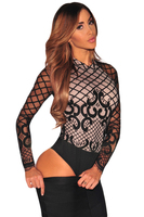 2016 New Teddy Sexy Nude Illusion Hollow Out Bodysuit Women Lace Up Back Coverall Long Sleeve