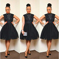 Graceful 2016 New Summer Sexy Mini Short Black Beaded Lace Tulle Women Special occasion Cocktail Party Dress robe de cocktail