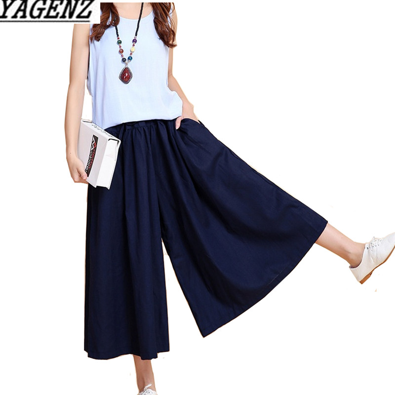Summer Women Cotton linen   Wide     leg     pants   Casual Loose Elastic waist Ankle-Length   Pants   Skirt Solid Pocket Female   Wide     leg     pants