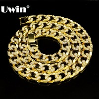 Hip Hop Bling Iced out 30 Rhinestones Gold&Silver Color 15mm Cuban Link Chain Necklace Men's Jewelry Long Chain Necklaces