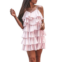 Pink Womens Dress Fashion V neck Ruffles Bodycon Women Sleeveless Short mini Summer Holiday Beach Sexy Party