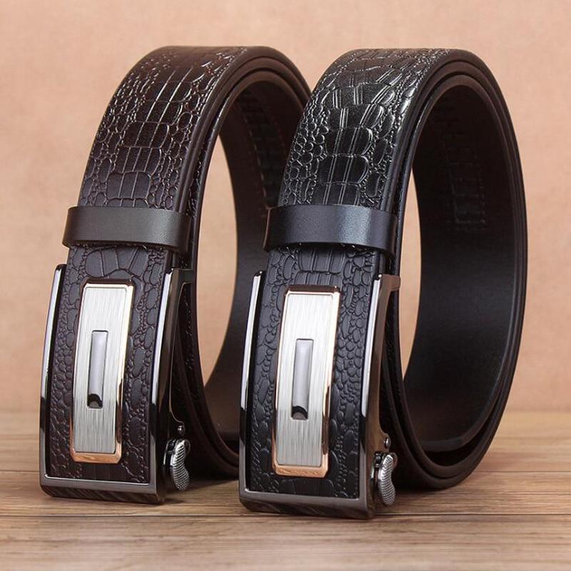 Automatic Buckle Alligator Belt Men Genuine Leather Belt Crocodile Grain Belts Luxury Leather Jean Belt Quality Assurance XKS045