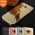 Case For Samsung Galaxy E5 E5000 E500F Новый Роскошный Золотой покрытие Алюминиевая Рама + Зеркало Акриловые PC Крышка Телефон Случаях защитные