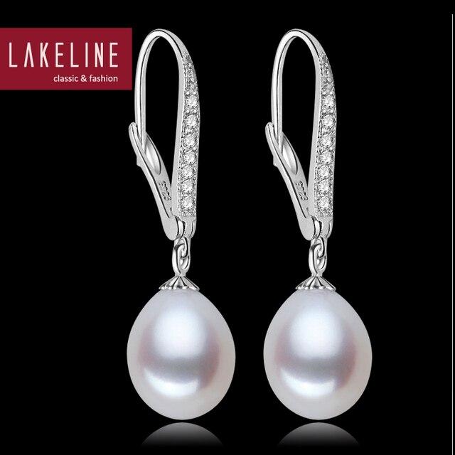 Pearl Crystal Leverback Drop Earrings Real Tear White Freshwater Dangle For Women Wedding