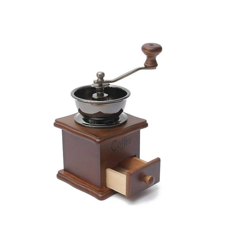 Классическая деревянная ручная кофемолка из нержавеющей стали в стиле ретро кофейная специя мини-Кусачка с высококачественной керамической мельницей