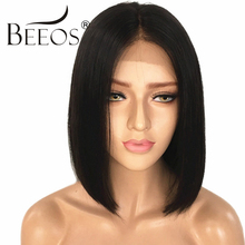 BEEOS Short Lace Front Human Hair Bob Wigs For Black Women Straight Remy Hair Brazilian Wigs With Baby Hair Natural Black&#1