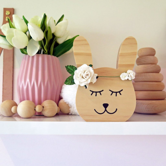Nordic Style Wooden Fox Cat Bear Silhouette Wall Art Decorative Ornaments, Nursery Kids Room Decor Sign, Baby Wooden Toys Gift