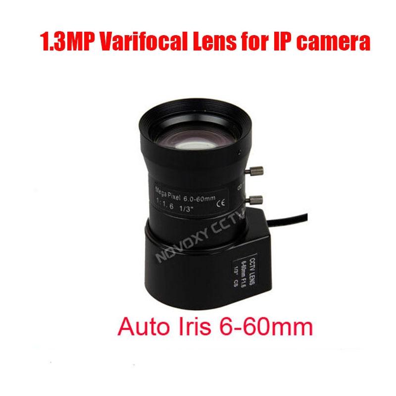 1.3 Megapixel HD 1/3 6-60mm Auto Iris Manual Varifocal CS Mount CCTV Lens F1.6 for Analog / IP Camera Free Shipping 8mm 12mm 16mm cctv ir cs metal lens for cctv video cameras support cs mount 1 3 format f1 2 fixed iris manual focus