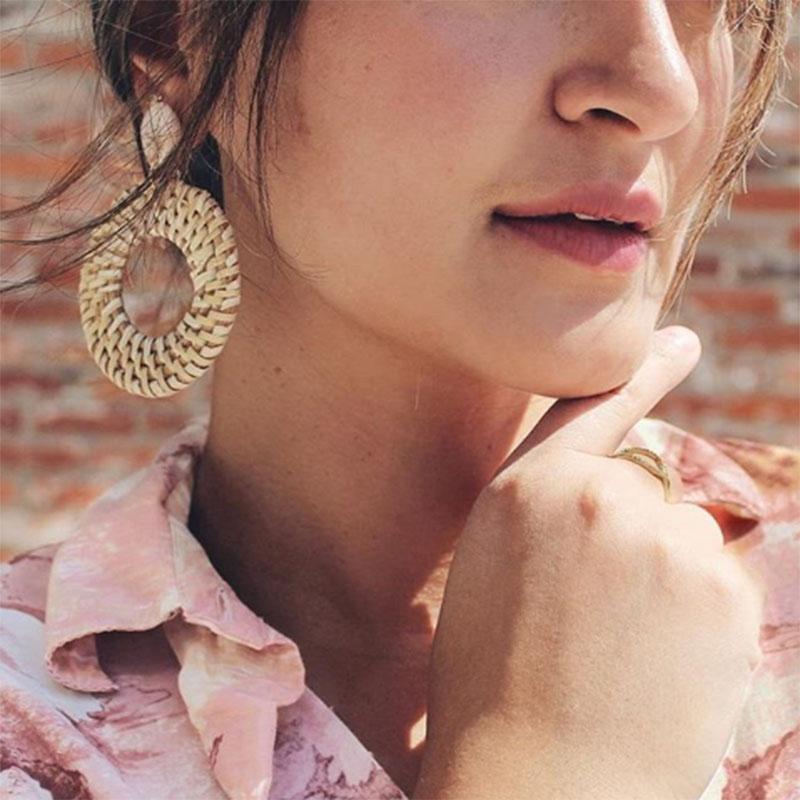 Bohemian Wicker Rattan Knit Pendant Earrings Handmade Wood Vine Weave Geometry Round Statement Long Earrings for Women Jewelry 2