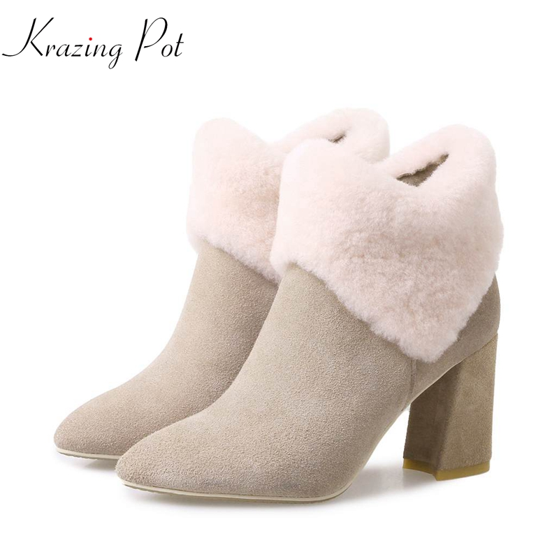 Krazing Pot 2019 winter sheep fur wool rabbit hair streetwear pointed toe dowager high heels metal