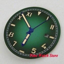 36.1mm zielony nie logo okno daty California zegarek wybierania fit MIYOTA 8215 821A Mingzhu 2813 ruch wybierania + ręce D127