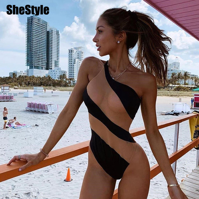 Shestyle One Shoulder Striped Nude Bodysuits Women Bodycon Irregular Neck Beach Body Vacation Beachwear Mesh Yarn Patchwork Body image