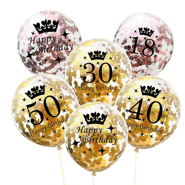 5 шт. надувные конфетти шары 12 дюймов Латекс ясный день рождения шары 18 30 40 50 Юбилей Свадебные украшения вечерние сувениры