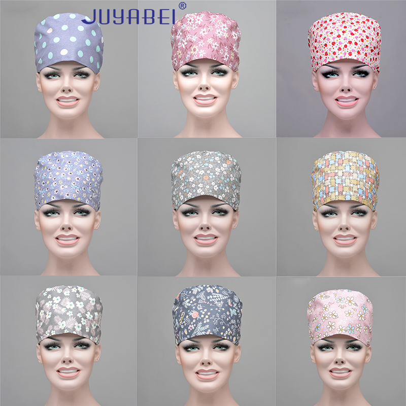 Cotton 10 Color Breathable Adjustable Operating Room Hat Printing Nurse Doctor Hat Beauty Salon Pharmaceutical Factory Dust Cap