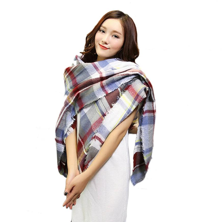 Stylish 2015 Winter Women 142 136CM warm Cashmere Scarf Wrap Shawl Plaid Cozy Checkered lady thicken